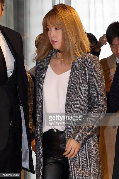 Jiyoon of 4Minute attends the Bershka flagship store opening event at MapoGu on November 20 2015 in Seoul South Korea