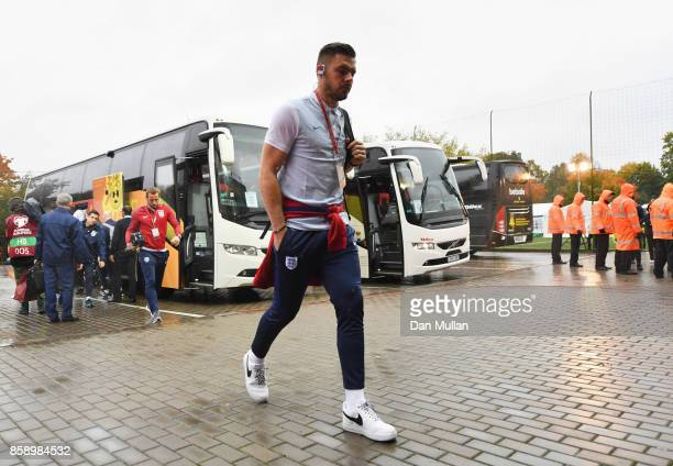 JJack Butland of England arrives prior to the FIFA 2018 World Cup Group F Qualifier between Lithuania and England at LFF Stadium on October 8 2017 in...