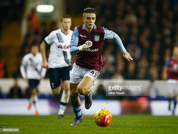 JJack Grealish of Aston Villa in action during the Barclays Premier League match between Tottenham Hotspur and Aston Villa at White Hart Lane on...