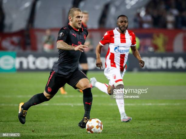 JJack Wilshere of Arsenal in action against Guelor Kanga of Crvena Zvezda during the UEFA Europa League group H match between Crvena Zvezda and...