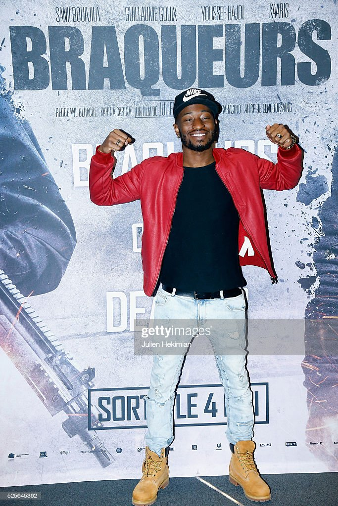 JMax attends 'Braqueurs' Premiere at UGC Cine Cite des Halles on April 28, 2016 in Paris, France.