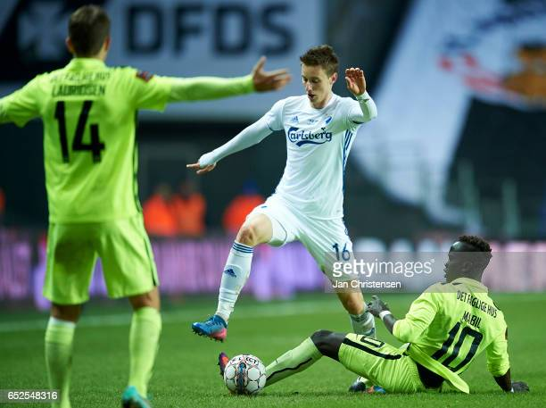Ján Gregus of FC Copenhagen and Awer Mabil of Esbjerg fB compete for the ball during the Danish Alka Superliga match between FC Copenhagen and...