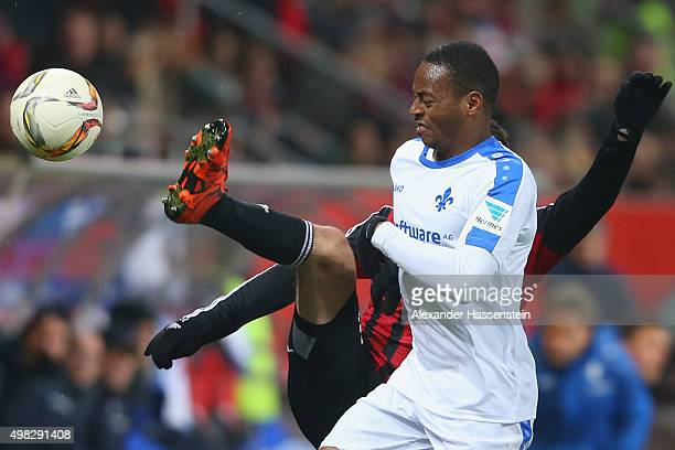 Júnior Enrique Díaz Campbell of Darmstadt battles for the ball with Pascal Gross of Ingolstadt during the Bundesliga match between FC Ingolstadt and...