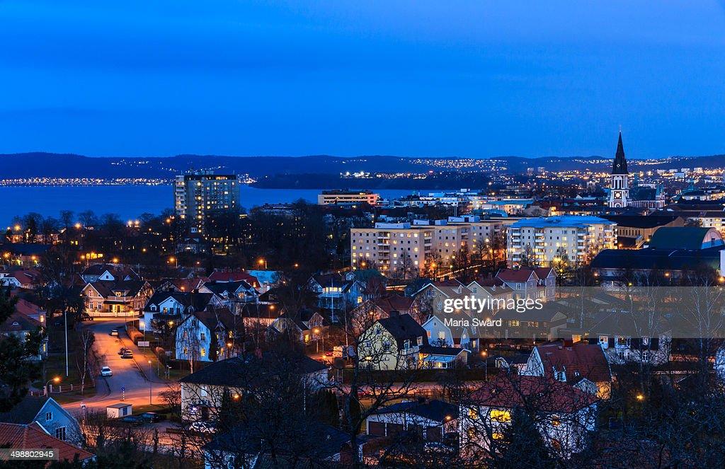 Jönköping - aerial at twilight