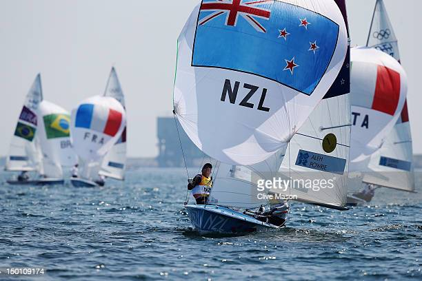 Jo Aleh and Olivia Powrie of New Zealand compete on their way to finishing first and winning the gold medal in the 470 Women's Class Sailing on Day...