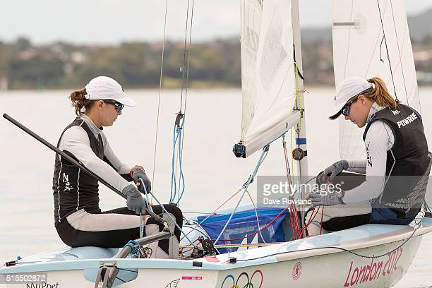 Jo Aleh left and Polly Powrie practice sailing in their 470 after being selected for the Olympic Sailing Team on March 14 2016 in Auckland New Zealand