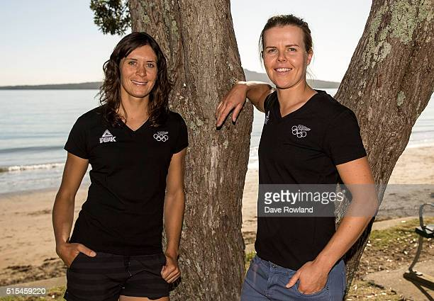 Jo Aleh left and Polly Powrie selected for the Olympic Sailing Team in the women's 470 class on March 14 2016 in Auckland New Zealand