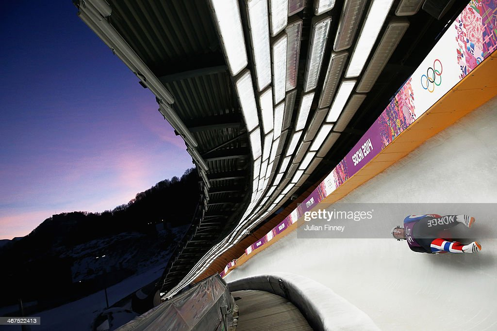 Jo Alexander Koppang of Norway in the Luge during a training session ahead of the Sochi 2014 Winter Olympics at the Sanki Sliding Center on February 7, 2014 in Sochi, Russia.