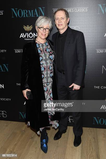 Jo Andres and Steve Buscemi attend a screening of Sony Pictures Classics' 'Norman' hosted by The Cinema Society at the Whitby Hotel on April 12 2017...