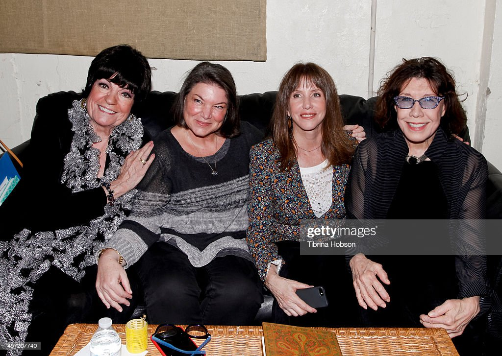 Jo Anne Worley Mindy Cohn Lorraine Newman and Lily Tomlin attend the 'Celebrity Autobiography show' at El Portal Theatre on October 13 2014 in North...
