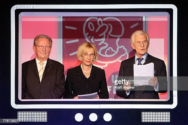 Jo Brauner and Dagmar Berghoff and Wilhelm Wieben perform on the runway at the Event Prominent Gala on November 18 2007 in Hamburg Germany