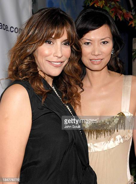 Jo Champa and Wendi Deng during MySpace Presents Rock for Darfur Party Benefiting Oxfam America at Private Estate in Beverly Hills California United...