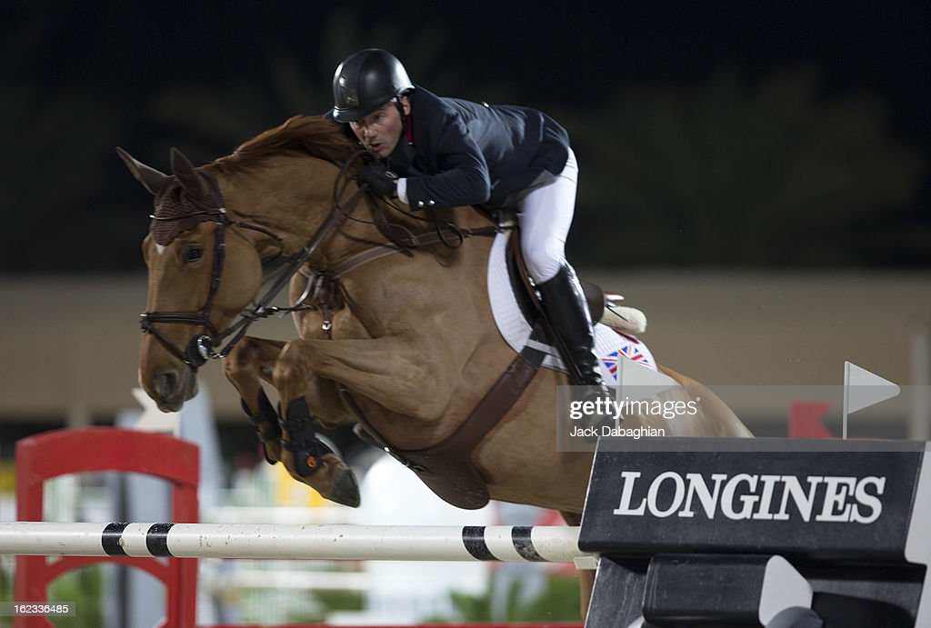 Jo Clee of Great Britain clears a hurdle on Diablesse de Muze during the President of the UAE Showjumping Cup - Furusyiah Nations Cup Series presented by Longines on February 21, 2013 in Al Ain, United Arab Emirates.