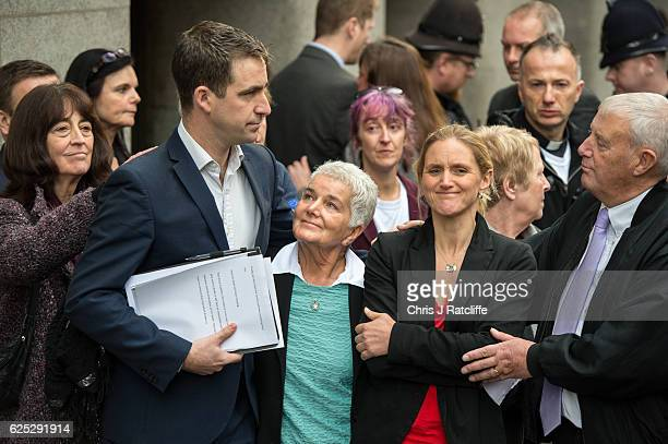 Jo Cox's husband Brendan Cox mother Jean Leadbeater father Gordon Leadbeater and sister Kim Leadbeater react after speaking to the media following...