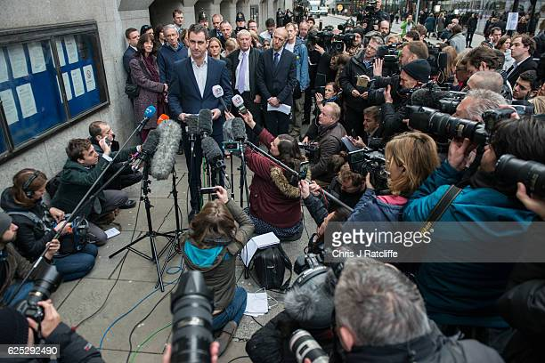 Jo Cox's husband Brendan Cox speaks to the media outside court as Jo Cox's sister Kim Leadbeater mother Jean Leadbeater and father Gordon Leadbeater...