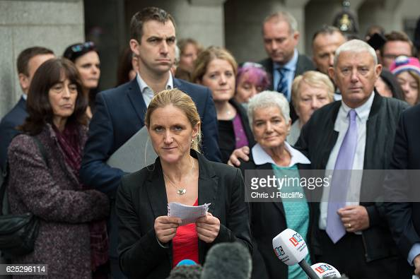 Jo Cox's sister Kim Leadbeater speaks to the media whilst her mother Jean Leadbeater father Gordon Leadbeater and brotherinlaw Brendan Cox stand...