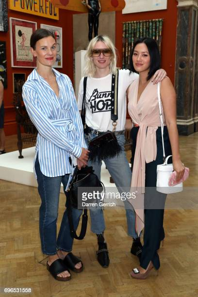 Jo Ellison Phoebe Arnold and Tiffany Hsu attend the Roksanda handbag celebration breakfast at the Royal Academy of Arts on June 16 2017 in London...