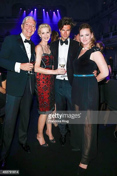 Jo Groebel Grit Weiss Andre Borchers and Jenny Falckenberg attend the Dom Perignon Stage Dinner on August 18 2014 in Hamburg Germany
