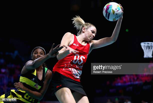 Jo Harten of England gathers the ball during the Fast5 World Series Netball match between Jamaica and England at Hisense Arena on October 29 2017 in...