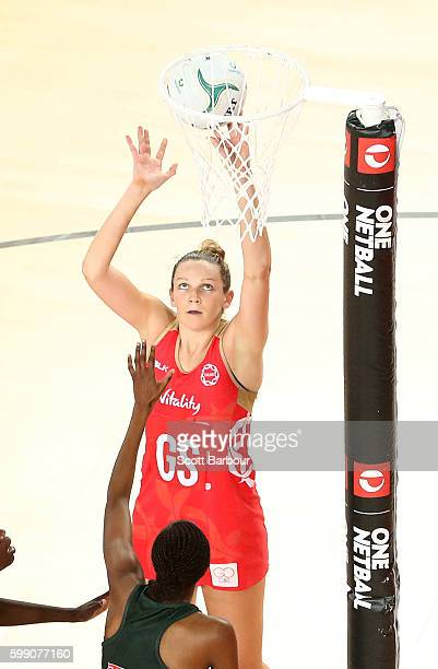 Jo Harten of England shoots the ball during the International Test match between the South Africa Spar Proteas and England Roses at Margaret Court...