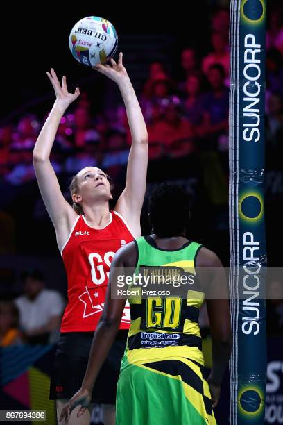 Jo Harten of England takes a shot during the Fast5 World Series Netball match between Jamaica and England at Hisense Arena on October 29 2017 in...