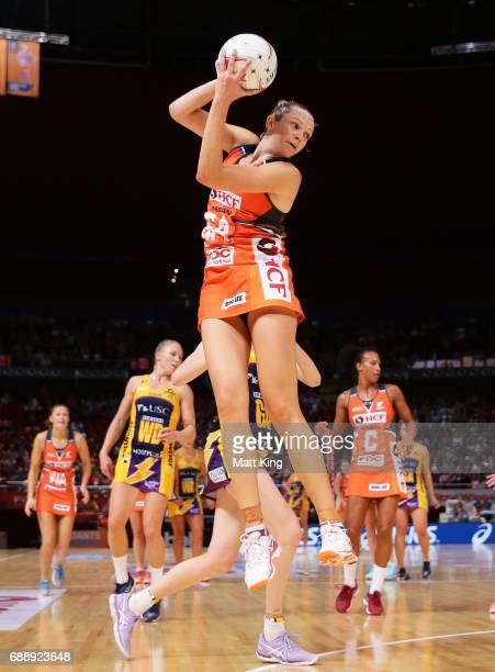 Jo Harten of the Giants catches the ball during the round 14 Super Netball match between the Giants and the Lightning at Qudos Bank Arena on May 27...