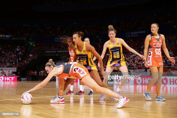 Jo Harten of the Giants gathers the ball during the round 14 Super Netball match between the Giants and the Lightning at Qudos Bank Arena on May 27...