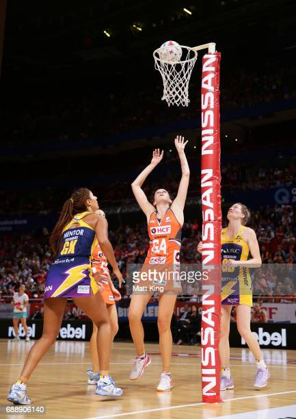 Jo Harten of the Giants shoots during the round 14 Super Netball match between the Giants and the Lightning at Qudos Bank Arena on May 27 2017 in...