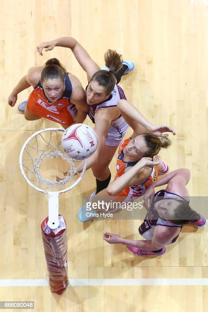 Jo Harten of the Giants shoots during the round eight Super Netball match between the Firebirds and the Giants at Gold Coast Convention Centre on...