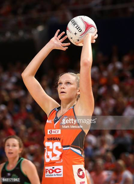 Jo Harten of the Giants shoots during the round two Super Netball match between the Giants and the West Coast Fever at Qudos Bank Arena on February...