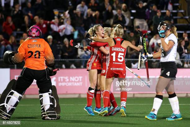 Jo Hunter of England celebrates her goal with team mates during day 4 of the FIH Hockey World League Women's Semi Finals Pool A match between Germany...