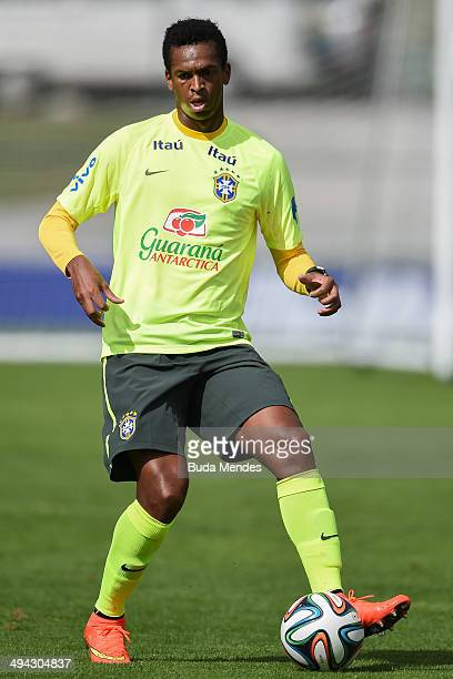 Jo in action during a training session of the Brazilian national football team at the squad's Granja Comary training complex in Teresopolis 90 km...