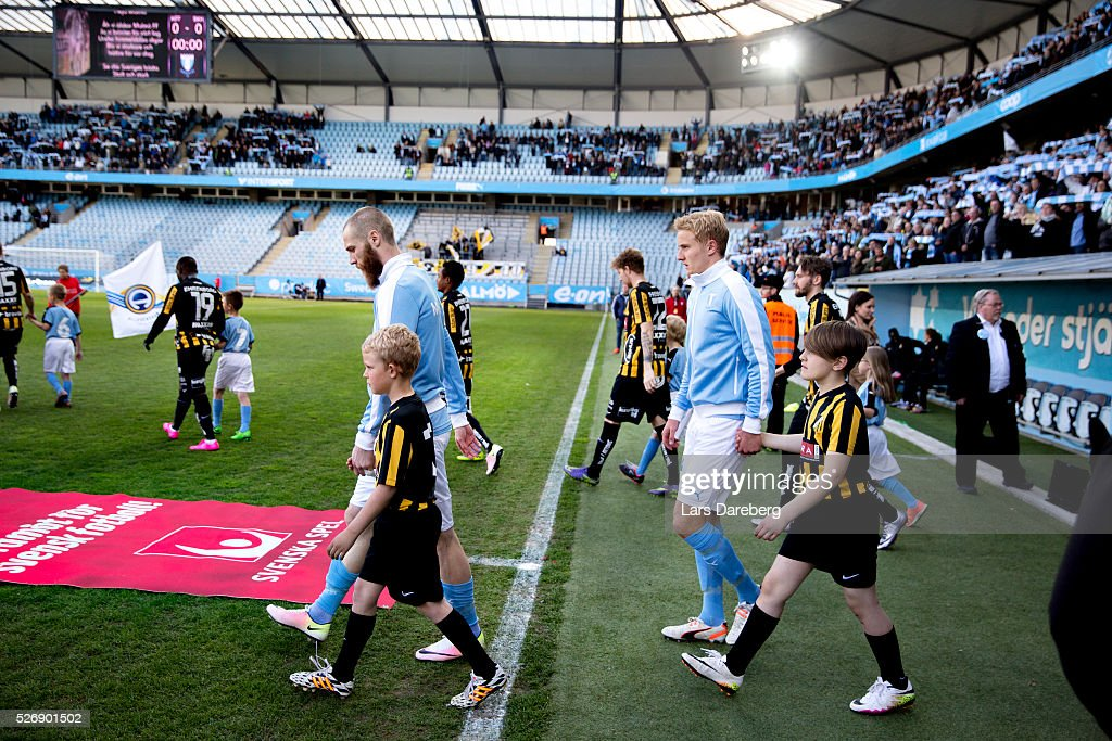 Jo Inge Berget of Malmo FF and Franz Brorsson of Malmo FF entering the pitch before the Allsvenskan match between Malmo FF and BK Hacken at Swedbank Stadion on May 1, 2016 in Malmo, Sweden.