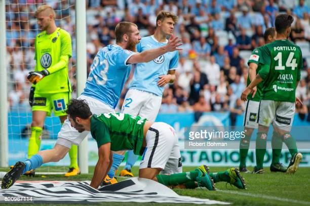 Jo Inge Berget of Malmo FF dejected during the Allsvenskan match between Malmo FF and Jonkopings Sodra IF at Swedbank Stadion on July 22 2017 in...