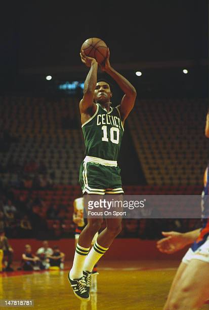 Jo Jo White of the Boston Celtics shoots against the Baltimore Bullets during an NBA basketball game circa 1972 at the Baltimore Civic Center...
