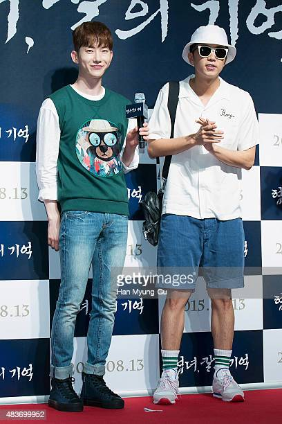 Jo Kwon of South Korean boy band 2AM and Wooyoung of South Korean boy band 2PM attend the VIP screening for 'Memories Of The Sword' on August 11 2015...