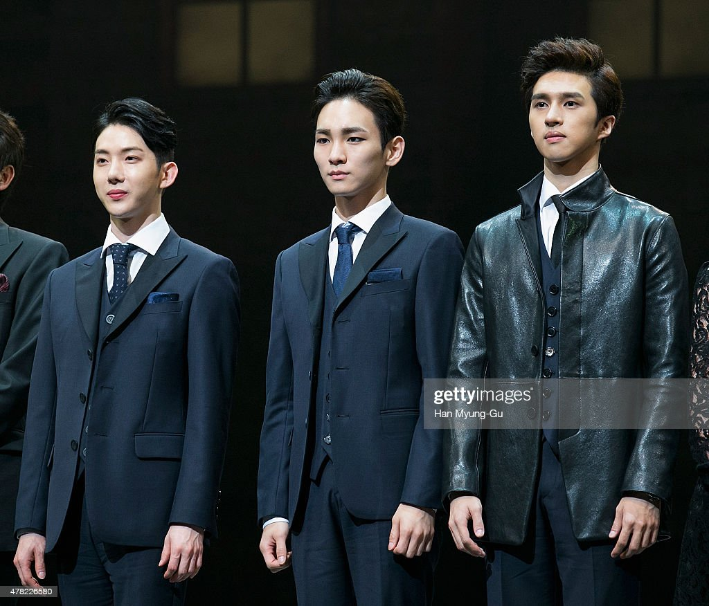 Jo Kwon of South Korean boy band 2AM Key of South Korean boy band SHINee and Ken of South Korean boy band VIXX attend the press call Musical 'CHESS'...