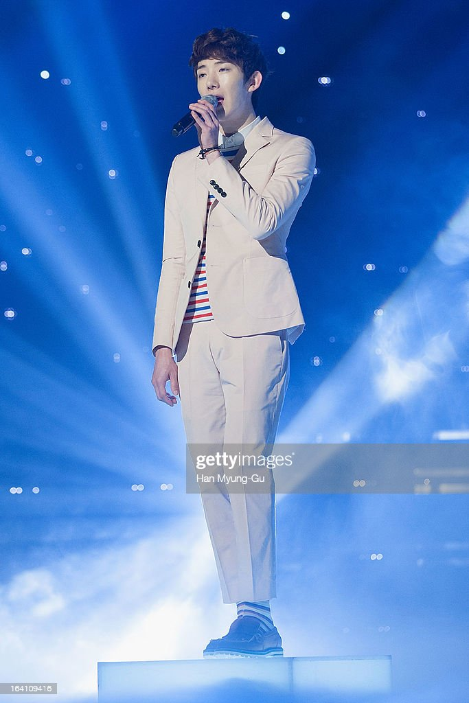 Jo Kwon of South Korean boy band 2AM performs onstage during the MBC Music 'Show Champion' at Uniqlo-AX Hall on March 20, 2013 in Seoul, South Korea.