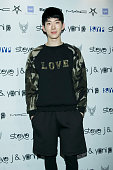 Jo Kwon of South Korean boy band 2AM poses for photographs at the Steve J and Yoni P show as part of Seoul Fashion Week S/S 2015 at DDP on October 20...