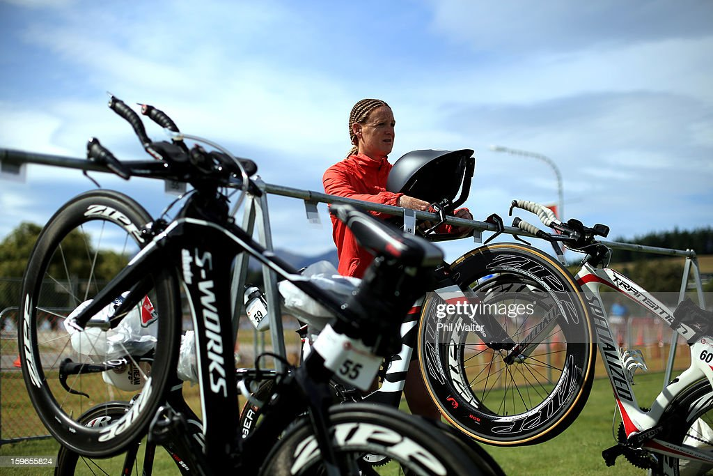 Jo Lawn of New Zealand stacks her bike prior to the Challenge Wanaka on January 18, 2013 in Wanaka, New Zealand.