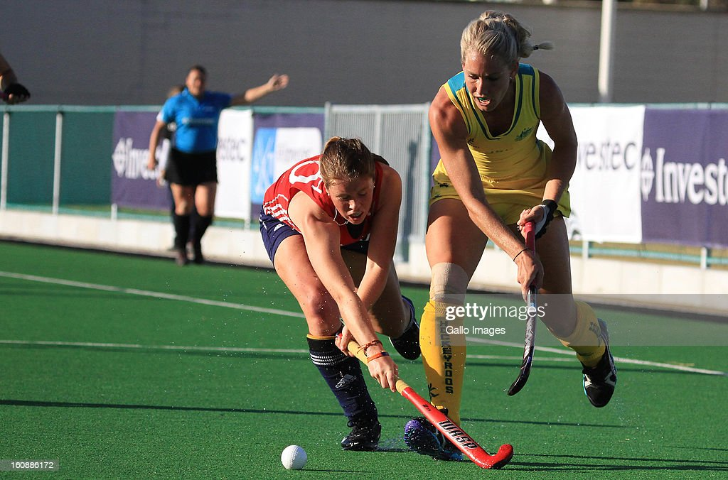 Jo Leigh of England and Casey Eastham of Australia during the Investec Women's International Hockey Challenge match between England and Australia from Hartleyvale Hockey Stadium on February 07, 2013 in Cape Town, South Africa.