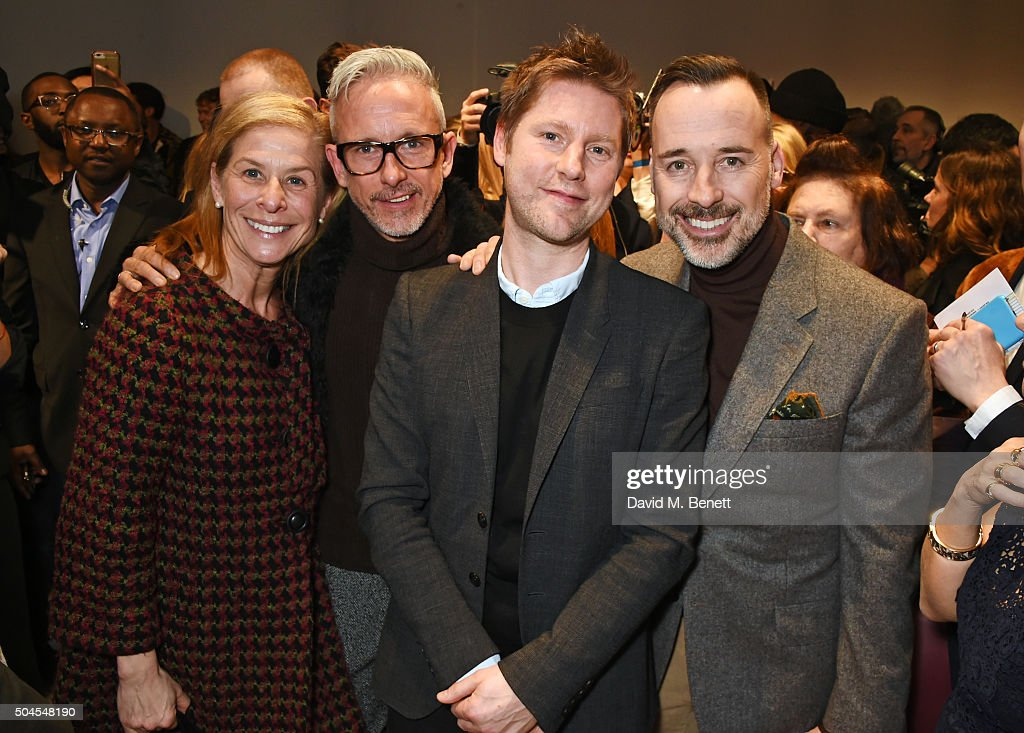 Jo Levin Patrick Cox Christopher Bailey Burberry Chief Creative and Chief Executive Officer and David Furnish attend the Burberry Menswear January...