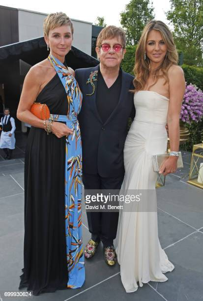 Jo Manoukian Sir Elton John and Elizabeth Hurley attend the Woodside Gallery Dinner in benefit of Elton John AIDS Foundation in partnership with...