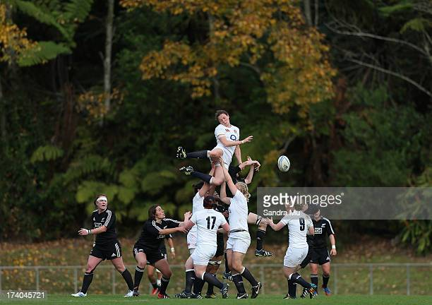 Jo McGilchrist of England loses the ball in the line out during game 3 of the international series between the New Zealand Black Ferns and England at...