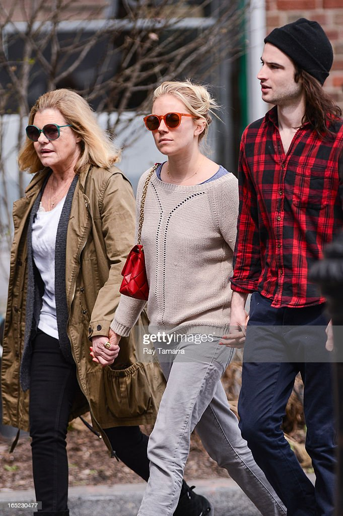 Jo Miller, Sienna Miller, and Tom Sturridge walk in the West Village on April 1, 2013 in New York City.