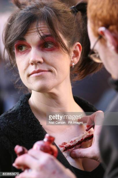 Jo Murrey Crawford has her makeup applied as filming begins on Battle of the Bone Northern Ireland's first martial arts horror movie