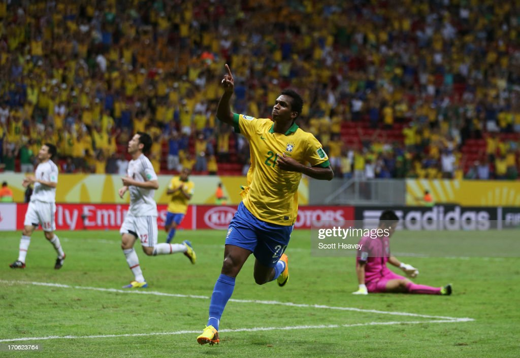 Jo of Brazil celebrates scoring his team's third goal during the FIFA Confederations Cup Brazil 2013 Group A match between Brazil and Japan at National Stadium on June 15, 2013 in Brasilia, Brazil.