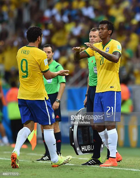 Jo of Brazil enters the game for Fred during the 2014 FIFA World Cup Brazil Group A match between Brazil and Mexico at Castelao on June 17 2014 in...
