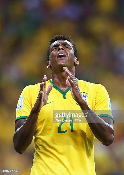 Jo of Brazil reacts during the 2014 FIFA World Cup Brazil Group A match between Brazil and Mexico at Estadio Castelao on June 17 2014 in Fortaleza...