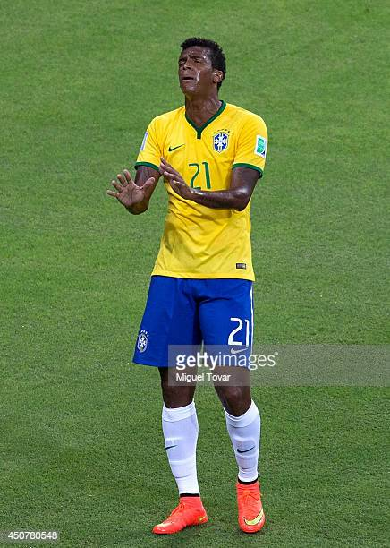 Jo of Brazil reacts during the 2014 FIFA World Cup Brazil Group A match between Brazil and Mexico at Castelao on June 17 2014 in Fortaleza Brazil